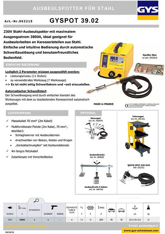 GYS GYSPOT 39.02 3902 Ausbeulspotter Spotter für Stahl 230V 1ph ...