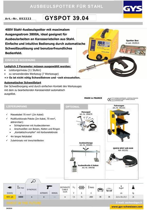 GYS GYSPOT 39.04 3904 Ausbeulspotter Spotter für Stahl 400V 3ph ...