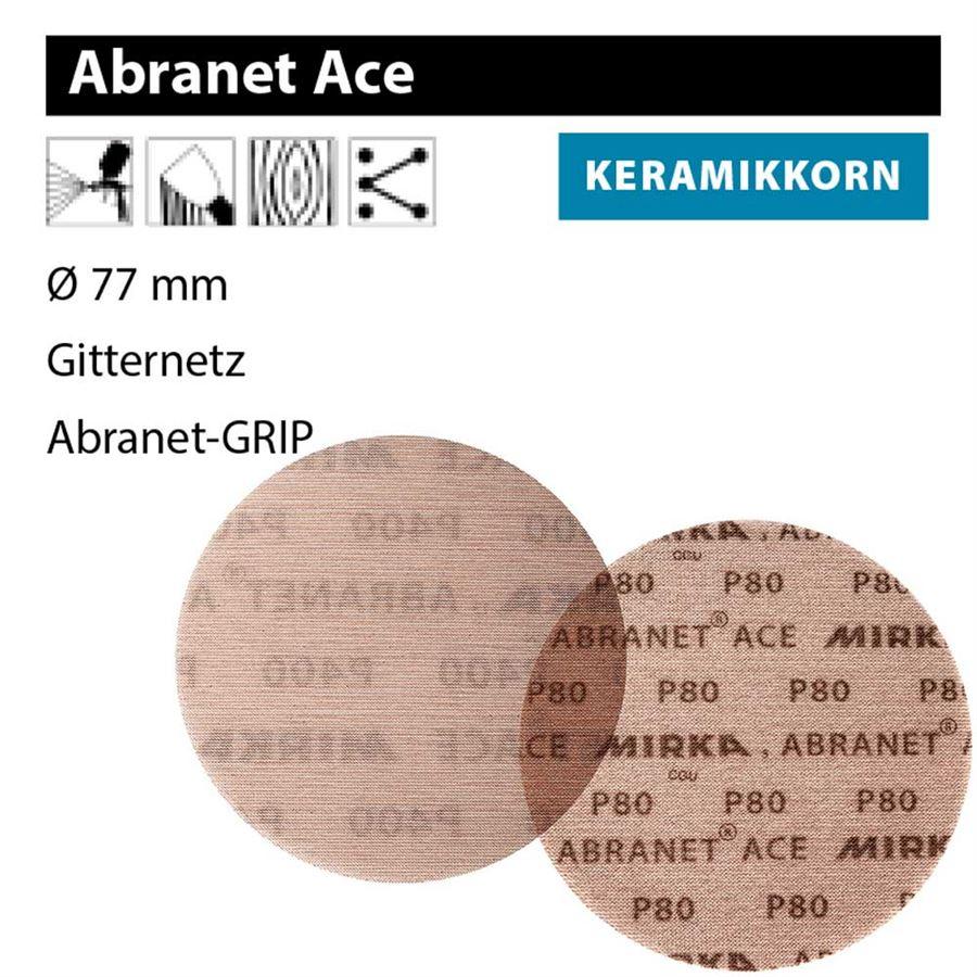 MIRKA Scheiben Abranet Ø 77 mm Klett P240 Gitternetz 50 St