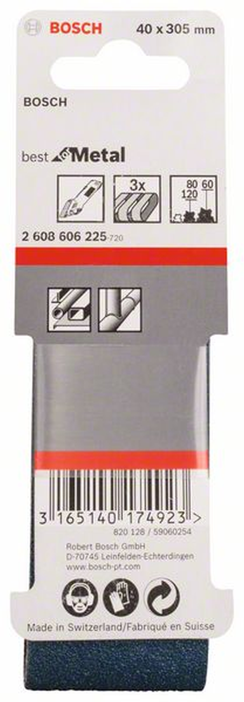 BOSCH 2608606225 Schleifband-Set Best for Metal,3-teilig,40 x 305 mm,60,80,120