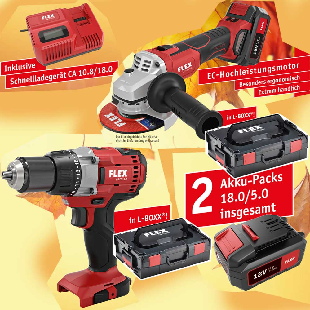 flex akku winkelschleifer l 125 + akkuschrauber dd 2g 2x l-boxx
