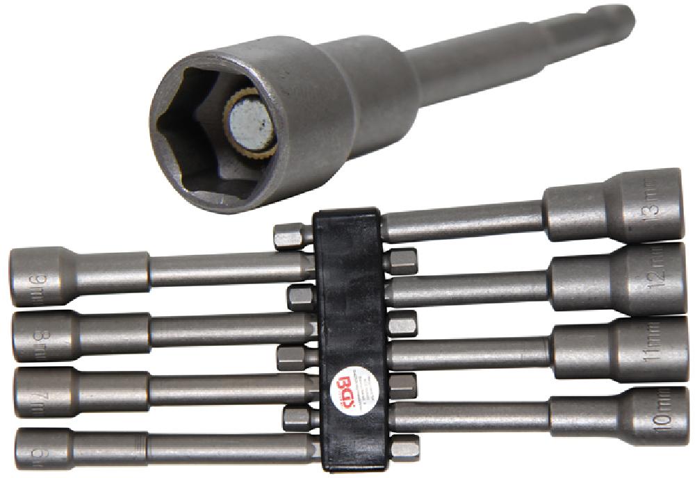 Steckschlüssel-Einsatz-Satz extra lang mit 6-Kant Bohrmaschinenschaft 6-13 mm
