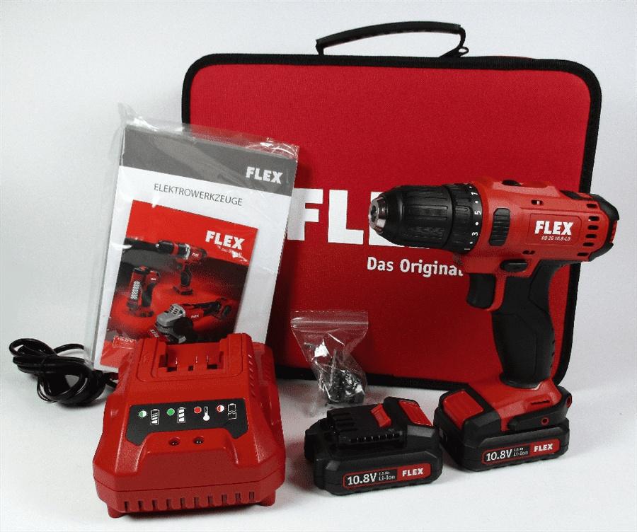flex 10,8 volt akkuschrauber dd 2g 10.8-ld tasche lg 2xakkus 450.561